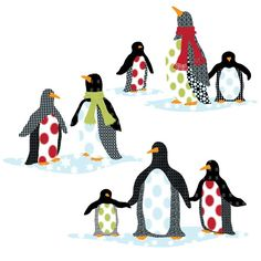 Patterned Penguins Wall Decals