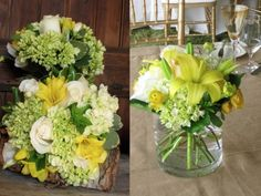 Yellow, white and green wedding flowers including hydrangea, freesia, roses, lilies and ranunculus.