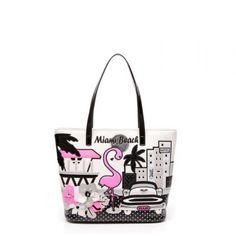 Borsa Braccialini Cartoline shopping Miami Beach B10213 - Scalia Group #borse #braccialini #glamour #fashion