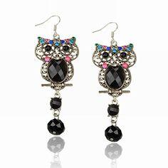 Kanggest Women Girl Fashion Necklace Earrings Bracelet Set Elegant Owl Crystal Pendant Jewellery Decoration