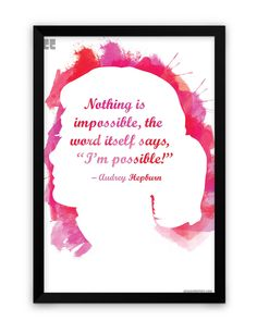 Preseed Prints Nothing is Impossible by Audrey Hepburn Motivational Matte Framed Poster