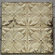 2x2 Antique Tin Tile. Framed and ready to hang. ►MEASUREMENTS: 23 1/2 x 23 1/2 (framed) ►COLOR: Original old layers of paint in off white and khaki tones with highlights old underlying tan and gray paints peeping through and raw metal on buffed pattern edges. Primitive original old