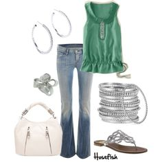 Cute green with silver bangles!