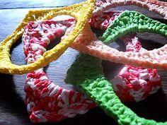 "Moira Crochets Plarn: Crocheted Square Bangles "",)"