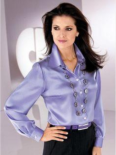 Blouses for women – Lady Dress Designs Satin Top, Silk Satin, Blouse Sexy, Secretary Outfits, Satin Bluse, Silk Stockings, Satin Shirt, Purple Satin, Woman Shirt