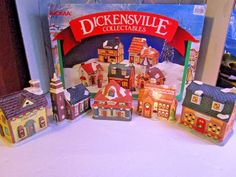 NOMA Dickensville Collectibles Porcelain Lighted Christmas Town Village 5 Pieces #NOMA
