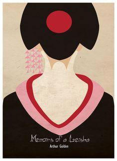Memoirs of a Geisha by Sanja Veljanoska, via Behance, book cover, girl illustration