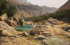 """Virtual plein air for the FB group """" Virtual Plein Air"""" Link of the location: Desert Oasis, Fantasy Concept Art, Fantasy Art, Water Aesthetic, Medieval Houses, Fantasy Places, Beautiful Places To Travel, Fantasy Inspiration, Fantasy Landscape"""