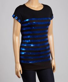 Love this Blue & Black Stripe Scoop Neck Top - Plus by Chris & Carol on #zulily! #zulilyfinds
