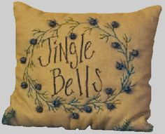 burlap and jingle bells pillow