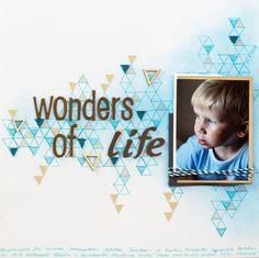 Scrapbook layout with stamped background for Allt Om Scrap: Wonders of Life. #scrapbooking #stamping #AOS