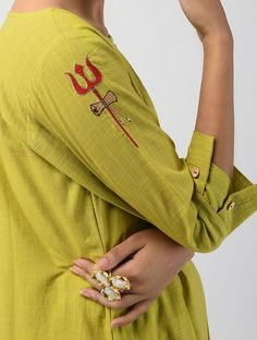 Green Hand-dyed Linen Cotton Kurta with Hand Embroidery
