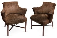 Midcentury Brown Suede Armchairs (wish they were a brighter color!)