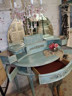 omg i have to have this!   Painted Cottage Chic Shabby Aqua Romantic by paintedcottages, $565.00