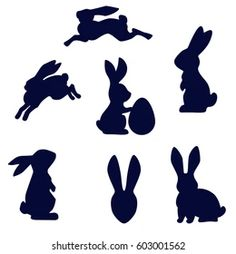 Silhouette Cameo 4, Rabbit Silhouette, Black Silhouette, Hoppy Easter, Easter Bunny, Easter Eggs, Easter Arts And Crafts, Bunny Crafts, Fairy Templates