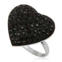 - Srdiečko - strieborný prsteň so Swarovski krištálmi Heart Jewelry, Swarovski