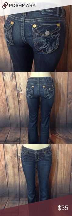 """MEK Buckle Montana easy boot Jeans Sz 26x34 Measurements Laying Flat Apr   Waist  14"""" Inseam 34"""" Rise  8""""  Leg Opening  9"""" Please see all pics before purchase  Good  Condition   SMOKE FREE HOME   Check Out My Other Items   Thank You For Looking MEK Jeans Boot Cut"""