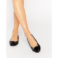 Miss KG Nakita Bar Ballet Flats (£35) ❤ liked on Polyvore featuring shoes, flats, black, black ballet flats, almond toe flats, slip on flats, black flats and shiny black flats