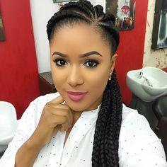 Simple 'go to' look! 💄😍 BROWS: & in Ebony LIPS: Soar lip liner & Cremesheen Ravishing lipstick Cornrows With Box Braids, Cornrows Braids For Black Women, Big Braids, Braids For Black Hair, Twist Braids, Ghana Braids, Twists, Braided Cornrow Hairstyles, African Braids Hairstyles