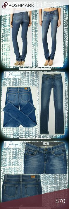 Paige Skyline Straight jeans 25 x 34  heritage Paige 'Skyline Straight' jeans. Mid-rise, lots of stretch, 34 inch inseam. The color is Heritage. The 1st photo is the stock photo, taken from the Paige website, of identical style and wash. All other photos are taken by me. Excellent condition. NO TRADES PLEASE! REASONABLE OFFERS WELCOME THROUGH OFFER FEATURE ONLY PLEASE! Paige Jeans Jeans