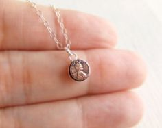 Abraham Lincoln Penny Jewelry Necklace in Sterling Silver, Real Tiny Coin, Brass Copper, Simple Everyday Wearable Jewelry, Gift for Her