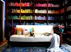 Books from a Home - love that the splash of color comes from the books!