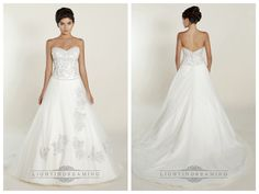 A-line Sweetheart Wedding Dresses with Beaded Bodice