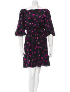 Off The Shoulder, Shoulder Dress, Halston Heritage Dress, Heart Print, Bell Sleeves, Wrap Dress, Short Dresses, Sequins, Black Silk