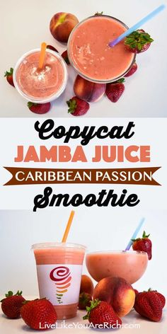 health smoothies This Jamba Juice Caribbean Passion Smoothie Copycat Recipe is creamy and delicious! Made with mango passion juice, frozen peaches, strawberries, and orange sherbet. Jamba Juice Recipes, Fruit Smoothie Recipes, Healthy Smoothies, Healthy Drinks, Fruit Recipes, Passion Fruit Smoothie, Frozen Fruit Smoothie, Green Smoothies, Protein Recipes