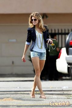 navy blazer and shorts