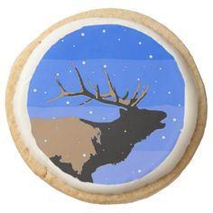 #Bugling Elk in Winter Round Shortbread Cookie - #Chocolates #Treats #chocolate