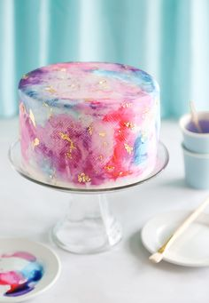 Watercolor Graffiti Chocolate Cake Recipe