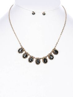 Black Diamond Faceted Teardrop Glass Stone Bib Necklace and Earring Set