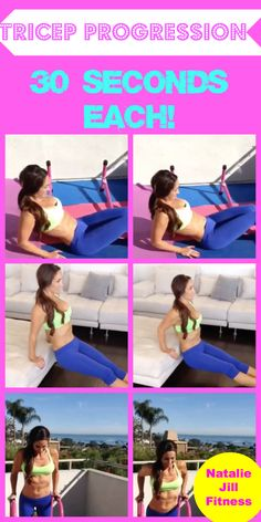 Try this TRICEP PROGRESSION with me!!! Click the image for more fun body weight workouts! #bodyweight #workout #homeworkout #fun #fitness #motivation
