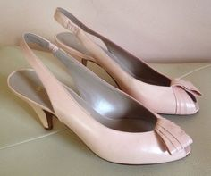 Women's Light Pink Genuine Leather Italy Made Sling back Heels Open Toe Shoes 7 #Amalfi #Heels