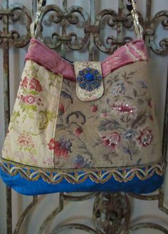 Vintage Petit Point Roses Red Yellow Velvet by LadidaHandbags