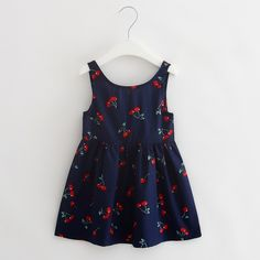 >> Click to Buy << Children Dress Girls 2017 Summer New Fashion Cherry Printing Dress Kids Party Sleeveless O-neck Cute Kids Clothes Girls 5647W #Affiliate