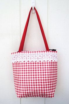 Country Gingham Tote Bag by SewManyPouches on Etsy, $20.00