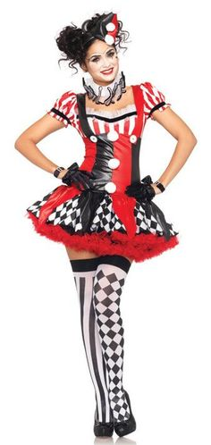 Leg Avenue Sexy Harlequin Clown Adult Costume - Candy Apple Costumes - Pop Culture Halloween Party Kostüm, Clown Halloween Costumes, Costume Carnaval, Mardi Gras Costumes, Adult Costumes, Costumes For Women, Cosplay Costumes, Adult Halloween, Women Halloween