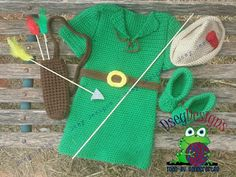 Robin Hood Costume ( complete with Booties, Bow, 3 Arrows, Quiver, and Hat )  Tunic, Hat, and Booties pattern by : Knitsy Crochet Made by : Dsey Designs ( www.facebook.com/DseyDesigns )
