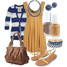 """blue & gold"" love this outfit, perfect cruise wear!"