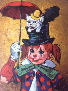 Vintage 60s Big Eye Clown Print by Lee