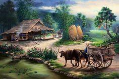 SA Ashik Vai: Here is a beautiful rural view. Indian Art Paintings, Nature Paintings, Beautiful Paintings, Landscape Paintings, Watercolor Paintings, Art Images, Art Pictures, Photos, Art Village