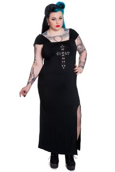 Amazing crucifix dress from Hell Bunny/Spin Doctor. It is so cute, super stretchy, and can also be worn off shoulder. A perfect wardrobe addition for that 90's goth girl! - Fabric content: 95% Rayon,