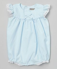 Another great find on #zulily! Blue Stripe Angel-Sleeve Romper - Infant by Les Petits Soleils by Fantaisie Kids #zulilyfinds