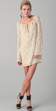 Haute Hippie Peasant Dress with Mirrors- should have been styled off the shoulder -- Would look so cute w/ boots too!