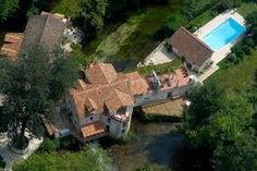 Aerial view of Le Moulin de Larcy Le Moulin, Aerial View, Firewood, Restoration, Water Mill, House Styles, River, Luxury, Home Decor