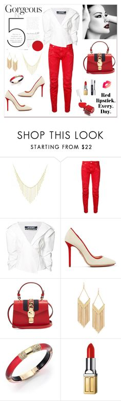 """""""Red Lipstick Everyday!"""" by rboowybe ❤ liked on Polyvore featuring Allurez, Pierre Balmain, Jacquemus, Charlotte Olympia, OPI, Gucci, Lydell NYC, Alexis Bittar and Elizabeth Arden"""