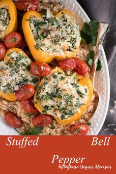 Super easy Stuffed Peppers recipe - full of onions garlic spinach seasoning ricotta and parmesan cheese and a grain of your choice! We love to serve our stuffed peppers with rice. Vegetarian Recipes Easy, Veggie Recipes, Chicken Recipes, Dinner Recipes, Cooking Recipes, Healthy Recipes, Healthy Dinners, Dessert Recipes, Crokpot Recipes