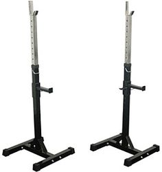 The Valor BD-3 squat stands are adjustable to fit each person's height. The H-frame bases allow for a stable stance while in use, and safety catch bars are available for emergency needs. Rubber end caps provide added protection and stability.